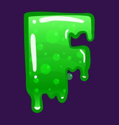 slime font type letter f latin alphabet green vector image