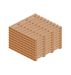 Stack of wooden pallets isometric icon vector