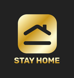 Stay home sticker icon for quarantine company vector