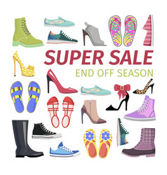 super sale end off season big shoes collection vector image