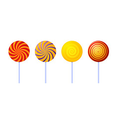 swirl lollipops colored sugar candies isolated on vector image