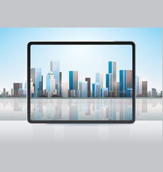 transparent tablet computer screen cityscape vector image