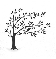 Tree with leaves and birds vector