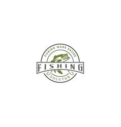 vintage retro emblem fishing bass logo design vect vector image