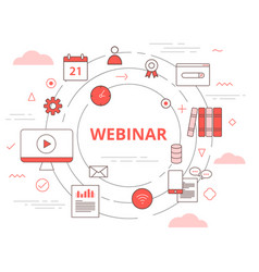 Webinar online teaching concept with icon set vector