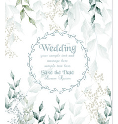 Wedding card round frame watercolor green leaves vector