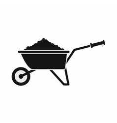 Wheelbarrow loaded with soil icon vector