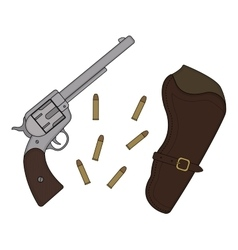 Wild west revolver holster bullets vector