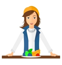 Woman with healthy food vector