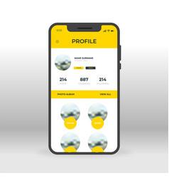 Yellow social network profile ui ux gui screen vector
