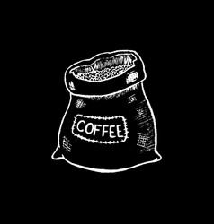 coffee sack white chalk on black chalkboard vector image vector image