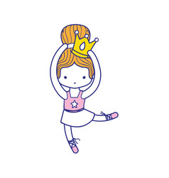 colorful girl dancing ballet with crown decoration vector image