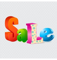 Colorful sale 3d letters vector image