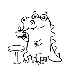 cute dinosaur in cafe cute vector image vector image