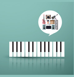 music symbol piano keyboard with instruments in vector image vector image