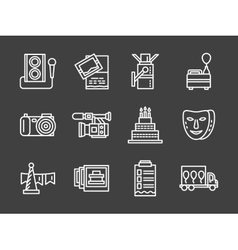 White line icons for party vector image vector image