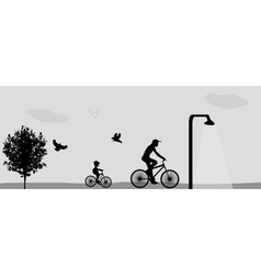 Family Riding Bikes in the Park vector image vector image