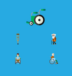 flat icon disabled set of equipment handicapped vector image