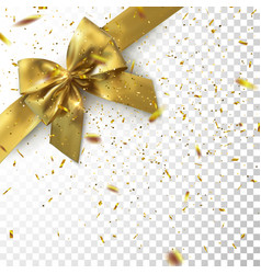 golden bow and ribbon with sparkling confetti vector image