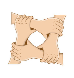 holding hands in a circle - concept of friendship vector image