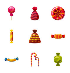 popular sweets icons set cartoon style vector image