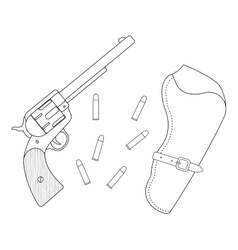 Revolver leather holster bullets Contour vector image