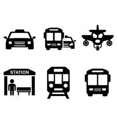 Road icons with transport silhouette vector