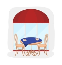 Served table near cafe icon in cartoon style vector image