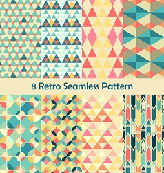 8 Retro different seamless patterns set vector image vector image