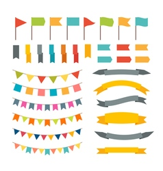 Collection of flags garland design elements vector image vector image