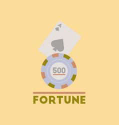 Flat icon on stylish background fortune chip card vector