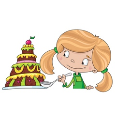 girl and cake vector image vector image