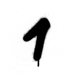 graffiti sprayed number 1 one in black on white vector image vector image