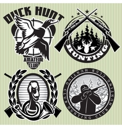 set of hunting label with wild ducks and vector image