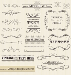 Vintage set calligraphic design elements and page vector