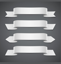 white ribbons on gray background vector image vector image