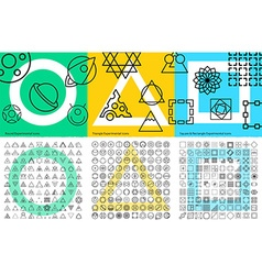 XXL set of abstract geometric linear icons for vector image vector image