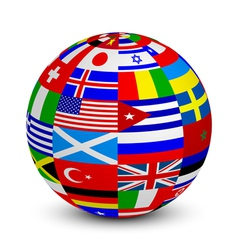 3d sphere with world flags vector image