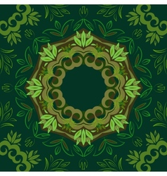 Abstract green floral background with round vector image