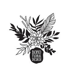 Boho black decorative plants and flowers vector image