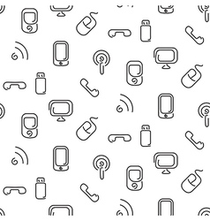 Electronics and mobile seamless pattern vector image vector image