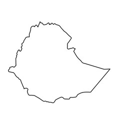 ethiopia map of black contour curves on white vector image