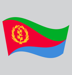 flag of eritrea waving on gray background vector image vector image
