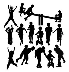 Having Fun Children Activity Silhouettes vector image vector image