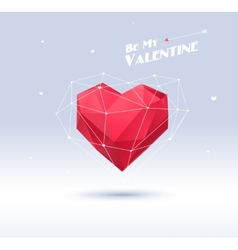 Red origami heart on white background with shadow vector image vector image