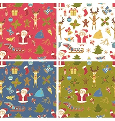 Set of Seamless Colorful Christmas Pattern vector image
