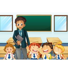 Teacher and students in classroom vector image vector image