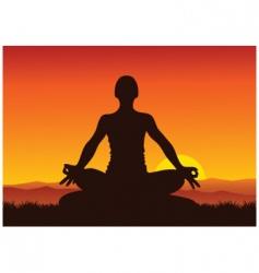 Yoga sunset vector image