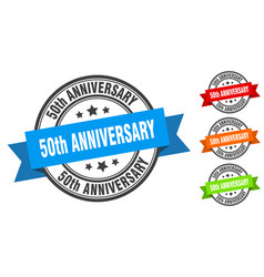 50th anniversary stamp round band sign set label vector