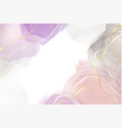 Abstract violet pink and grey liquid watercolor vector